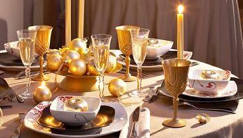 Mesa de natal dourada amarelo ouro - Cenas de navidad originales ...