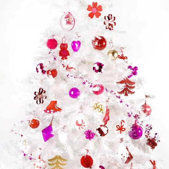 Arvore de natal branca amarelo ouro - Como adornar un arbol de navidad blanco ...