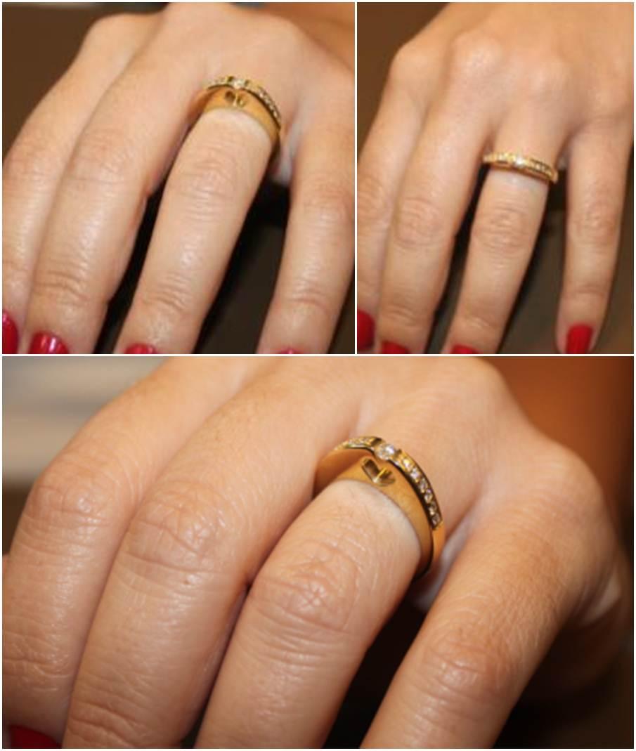 decorar ouro branco:aliança de noivado de ouro branco – Amarelo Ouro